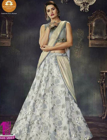 Indo Western MOH4710 Party Wear Grey Beige Silk Lycra Saree Gown by Fashion Nation