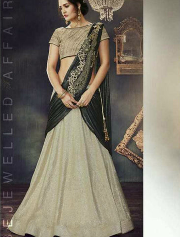 Indo Western MOH4711 Party Wear Beige Silk Lycra Saree Gown by Fashion Nation