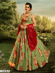Celebrations Special Green Multicoloured Organza Floral Party Lehenga by Fashion Nation