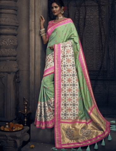 Pretty MN4901 Bridal Green Pink Silk Saree by Fashion Nation