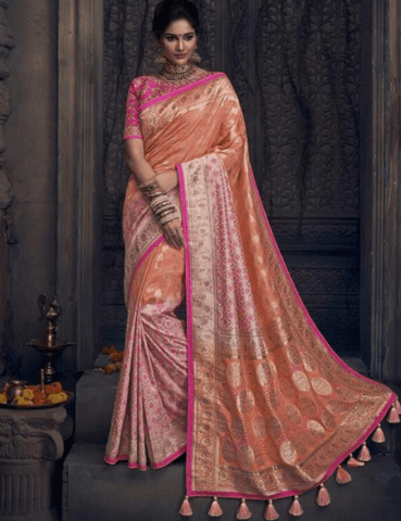 Fascinating MN4902 Wedding Special Peach Pink Silk Saree by Fashion Nation