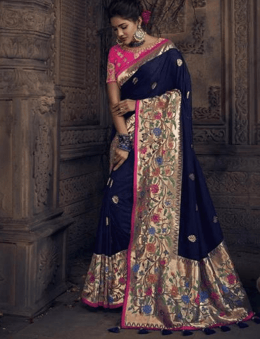 Attractive MN4904 Wedding Special Blue Pink Silk Saree - Fashion Nation.in