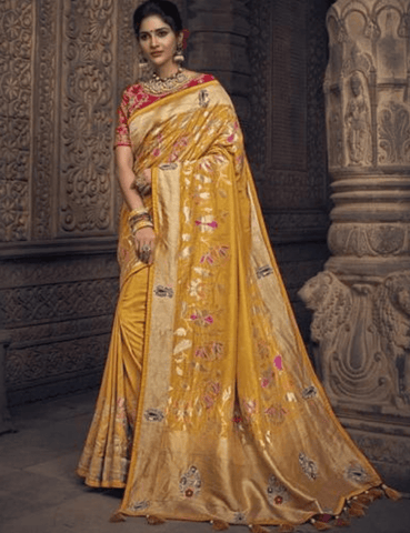 Resplendent MN4905 Wedding Special Yellow Red Silk Saree - Fashion Nation.in