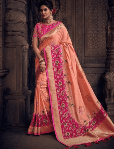 Colourful MN4907 Wedding Special Peach Pink Silk Saree by Fashion Nation