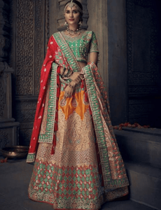 Exclusive MN4909 Bridal Multicoloured Silk Lehenga Choli by Fashion Nation