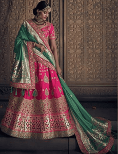 Regal MN4910 Bridal Pink Green Silk Lehenga Choli by Fashion Nation