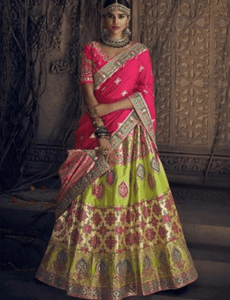 Excellent MN4911 Wedding Special Pink Lime Green Silk Lehenga Choli by Fashion Nation