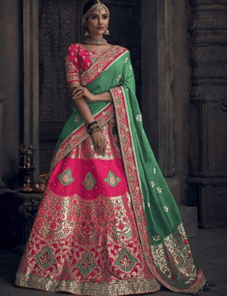 Awe-inspiring MN4912 Wedding Special Pink Green Silk Lehenga Choli - Fashion Nation