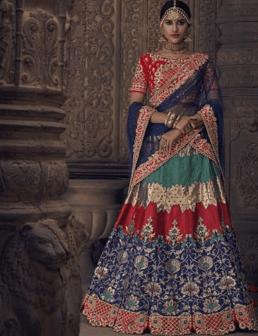 Wonderful MN4913 Wedding Special Multicoloured Silk Lehenga Choli by Fashion Nation