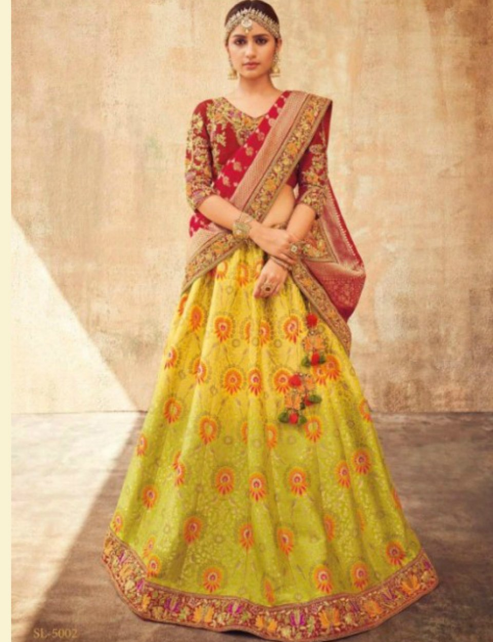 Stunning KIM5002 Designer Multicoloured Green Maroon Jacquard Silk Lehenga Choli by Fashion Nation