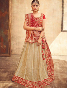 Graceful KIM5003 Bridal Beige Red Maroon Jacquard Silk Lehenga Choli by Fashion Nation