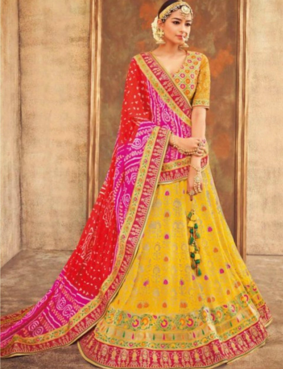 Colourful KIM5004 Spectacular Multicoloured Yellow Jacquard Silk Lehenga Choli by Fashion Nation
