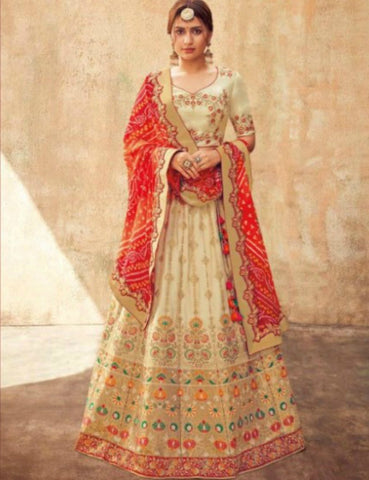 Royal KIM5005 Fabulous Beige Red Maroon Jacquard Silk Lehenga Choli by Fashion Nation