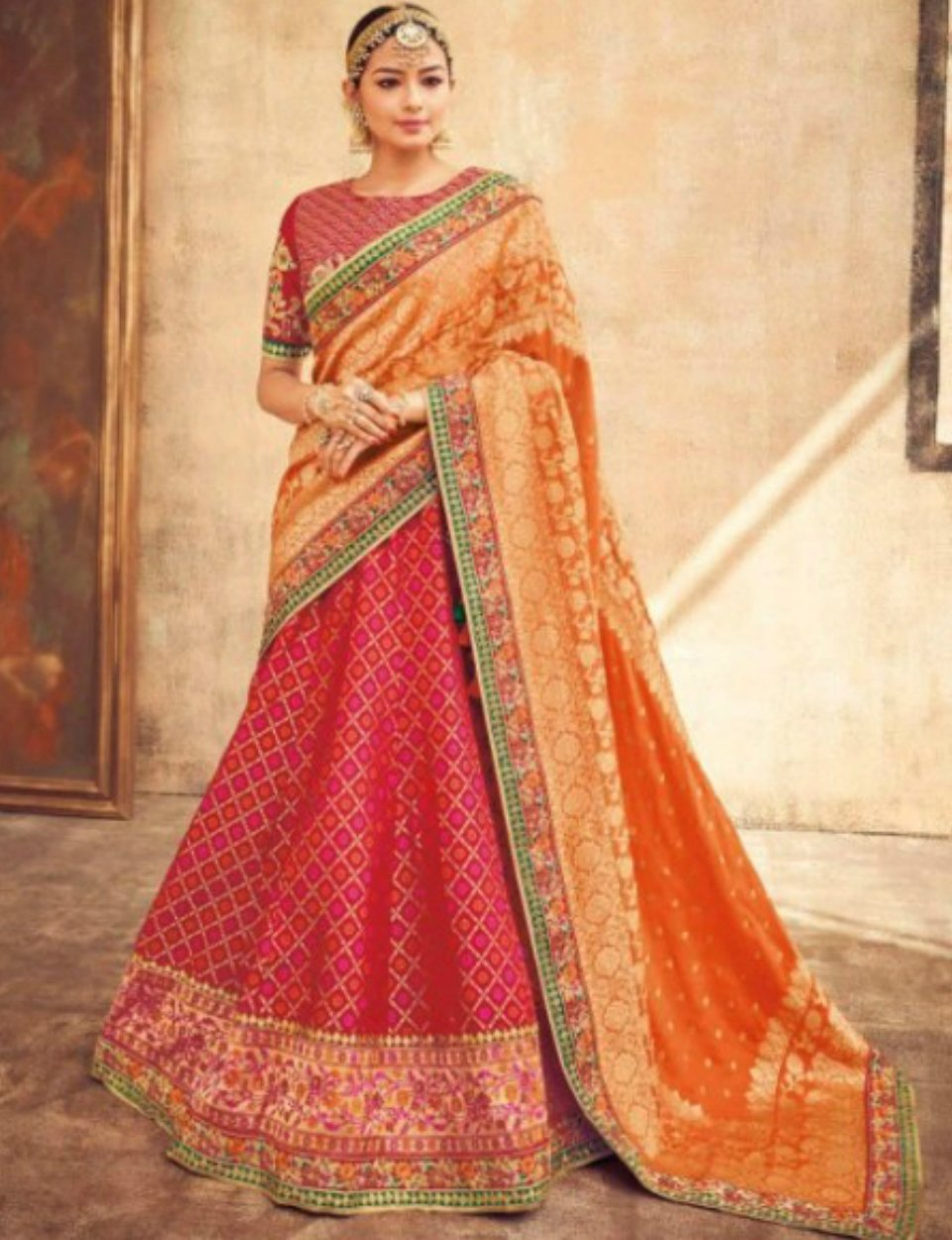 Spellbinding KIM5006 Radiant Red Maroon Pink Jacquard Silk Lehenga Choli by Fashion Nation