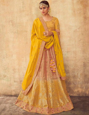 Delighful KIM5007 Kimora Beige Yellow Jacquard Silk Lehenga Choli by Fashion Nation
