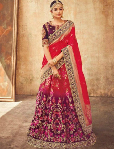 Bridal KIM5008 Kimora Shaded Purple Pink Jacquard Silk Lehenga Choli - Fashion Nation