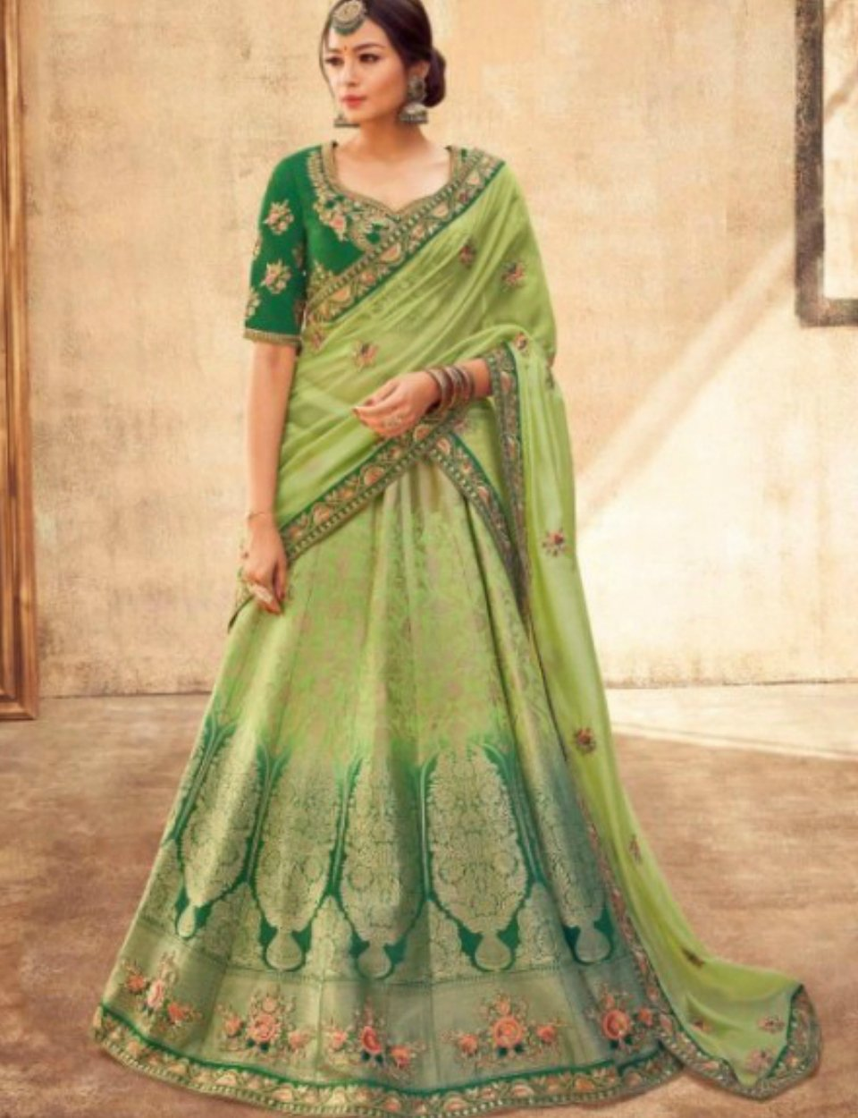 Exquisite KIM5009 Dressy Kimora Shaded Green Jacquard Silk Lehenga Choli by Fashion Nation