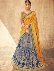 Striking KIM5010 Kimora Blue Yellow Jacquard Silk Lehenga Choli by Fashion Nation