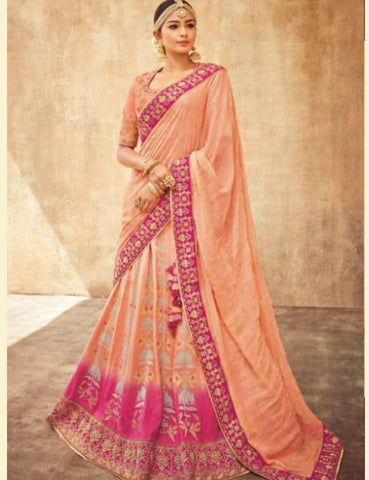 Beautiful KIM5011 Kimora Shaded Peach Pink Jacquard Silk Lehenga Choli - Fashion Nation