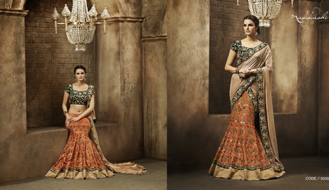 NAK5035 Designer Nakkashi Beige Orange Bhagalpuri Silk Lehenga Saree - Fashion Nation