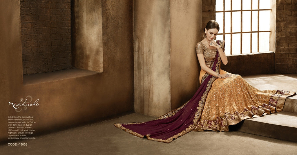 NAK5036 Designer Nakkashi Yellow Maroon Chiffon Net Lehenga Saree - Fashion Nation