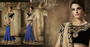 NAK5041 Designer Nakkashi Beige Blue Black Georgette Chiffon Velvet Lehenga Saree - Fashion Nation