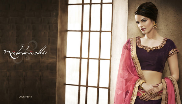 NAK5042 Designer Nakkashi Pink Wine Velvet Net Lehenga Saree - Fashion Nation
