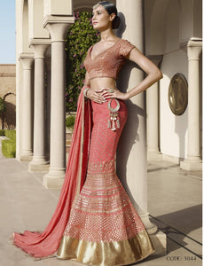 Astounding Nakkashi NAK5044 Wedding Special Pink Peach Georgette Silk Lehenga Choli - Fashion Nation