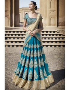 Charming Nakkashi NAK5045 Festive Blue Beige Bhagalpuri Silk Net Lehenga Choli - Fashion Nation