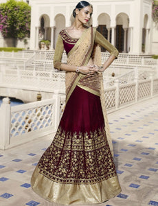 Opulent Nakkashi NAK5046 Bridal Maroon Beige Velvet Net Lehenga Choli by Fashion Nation