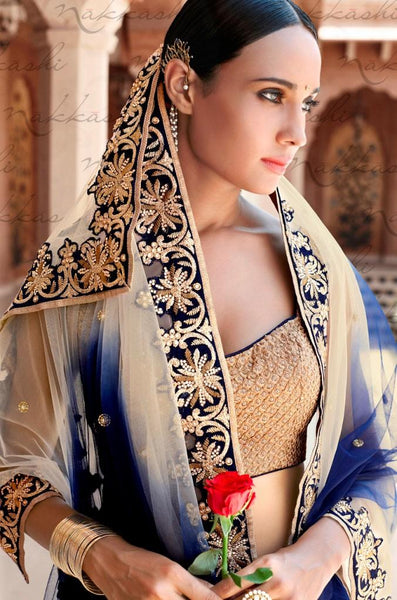 Brilliant Nakkashi NAK5048 Bridal Blue Beige Bhagalpuri Silk Net Lehenga Choli - Fashion Nation