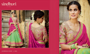 Superb Kimora Bridal L504 Pink Green Tussar Silk Jacquard Lehenga Choli - Fashion Nation.in