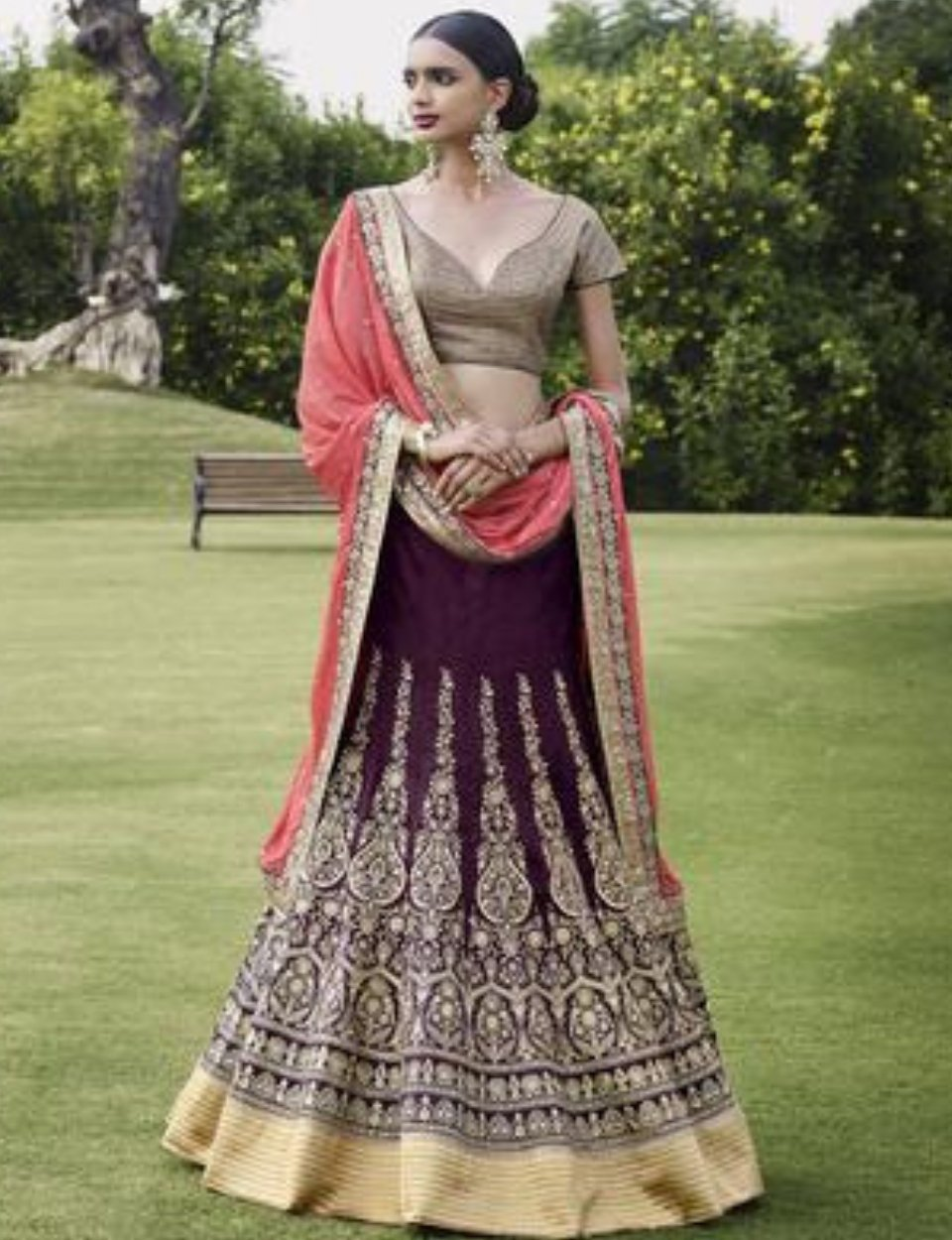 Special Nakkashi NAK5052 Attractive Burgundy Beige Bhagalpuri Silk Georgette Lehenga Choli by Fashion Nation