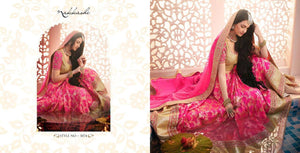 Designer Nakkashi Bridal NAK5074 Pink Beige Brocade Silk Lehenga Choli - Fashion Nation