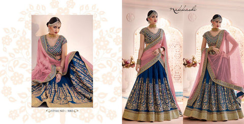 Unique Nakkashi Bridal NAK5083 Peach Blue Silk Net Lehenga Choli