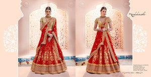 Amazing Nakkashi Bridal NAK5084 Red Brocade Silk Lehenga Choli - Fashion Nation