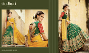 Great Kimora Bridal L508 Green Yellow Tussar Silk Jacquard Lehenga Choli - Fashion Nation