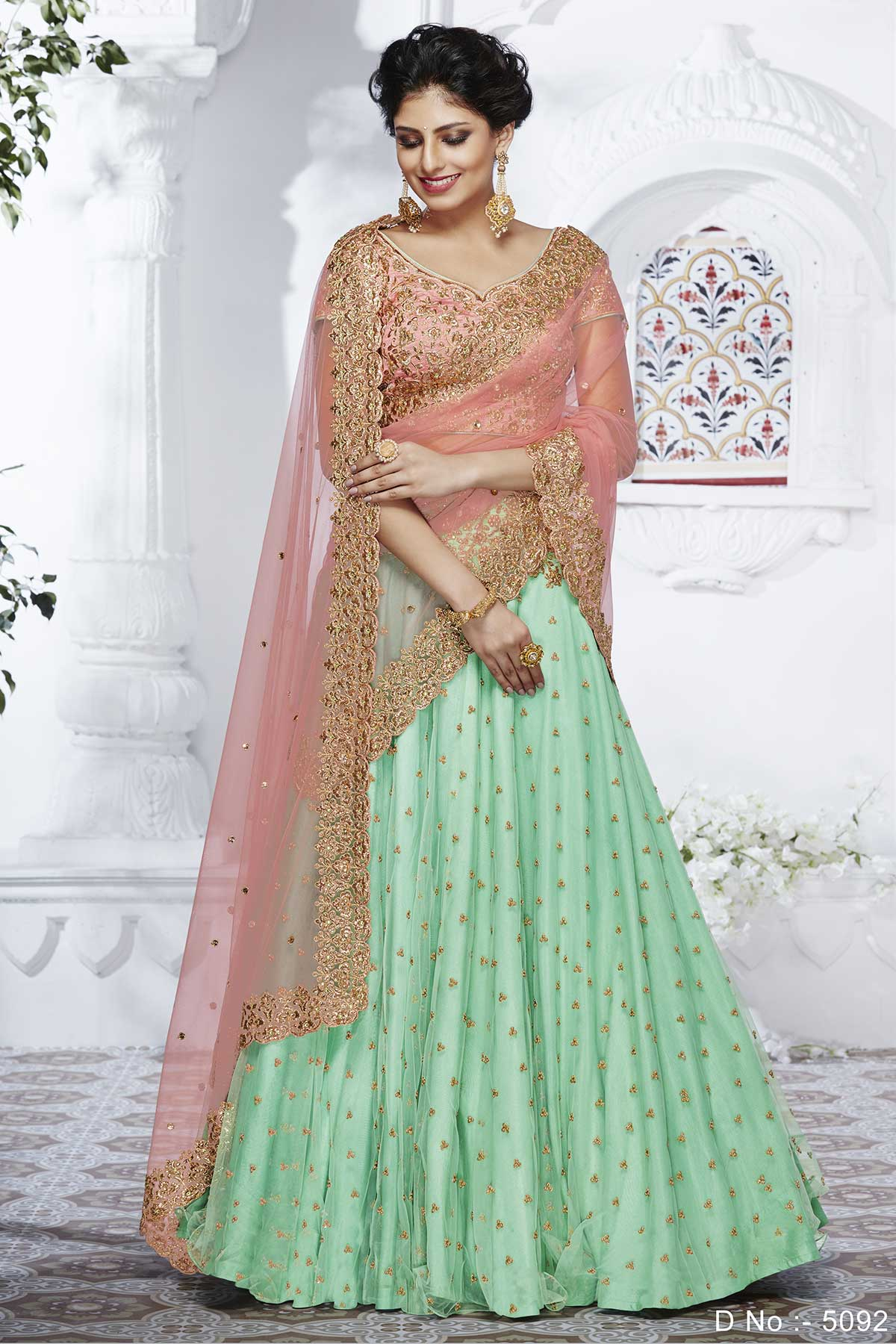 Delicate NAK5092 Bridal Rama Green Peach Net Silk Lehenga Choli - Fashion Nation