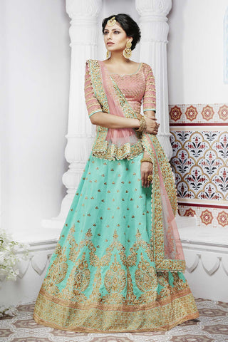 Exclusive NAK5094 Bridal Peach Rama Green Handloom Silk Net Lehenga Choli