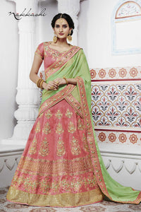 Curated NAK5095 Bridal Peach Handloom Silk Green Satin Chiffon Lehenga Choli - Fashion Nation