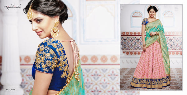 Handpicked NAK5096 Bridal Pink Tussar Silk Blue Benarasi Silk Jacquard Lehenga Choli by Fashion Nation