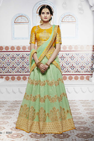 Bright NAK5097 Bridal Pista Green Yellow Handloom Silk Chiffon Lehenga Choli - Fashion Nation