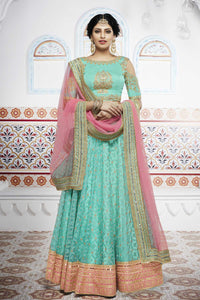 Embroidered NAK5099 Bridal Peach Rama Green Net Silk Lehenga Choli