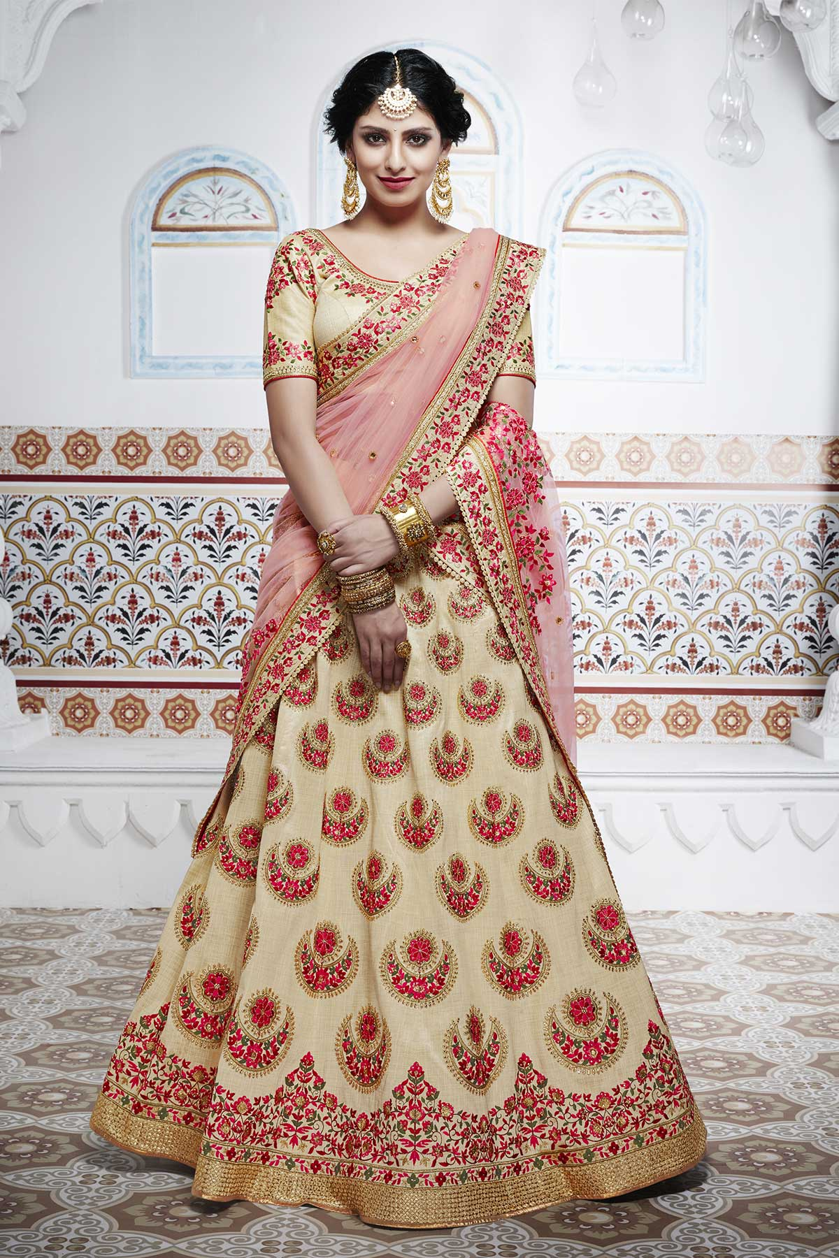 Fashionable NAK5100 Bridal Beige Pink Handloom Silk Net Lehenga Choli