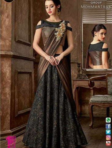 Indo Western MOH5103 Party Wear Brown Black Silk Lycra Saree Gown by Fashion Nation