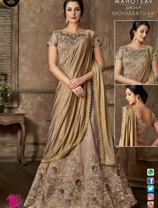 Indo Western MOH5104 Party Wear Beige Silk Lycra Saree Gown by Fashion Nation