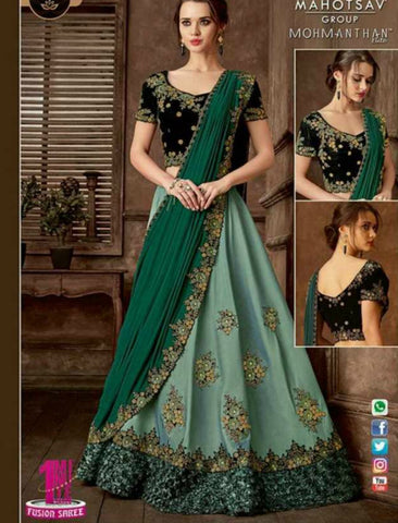 Indo Western MOH5105 Party Wear Green Silk Lycra Saree Gown by Fashion Nation