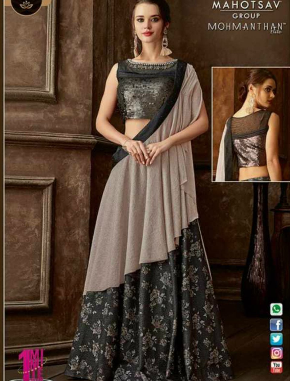 Indo Western MOH5107 Party Wear Grey Silk Lycra Saree Gown - Fashion Nation