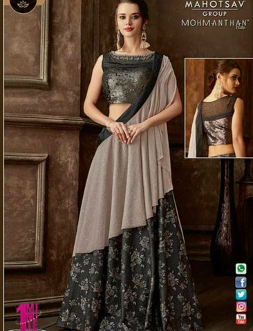 Indo Western MOH5107 Party Wear Grey Silk Lycra Saree Gown by Fashion Nation