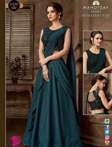 Indo Western MOH5108 Party Wear Turquoise Silk Lycra Saree Gown - Fashion Nation